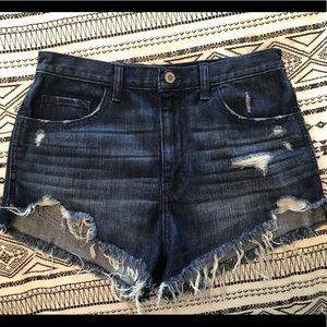 Dark Blue Hollister Distressed Denim Shorts. NWOT